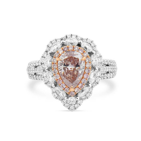 Fancy Brown Pink pear shape Diamond halo Ring, 1.16 ct, SI2, GIA