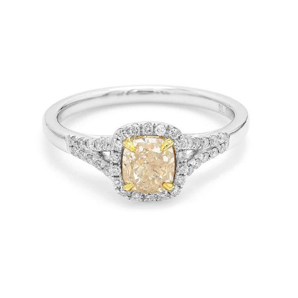 Fancy Light Yellow Diamond Ring, 1.01 Ct. (1.19 Ct. TW), Cushion shape, EG_Lab Certified, J520140