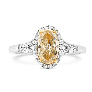 Fancy Yellow Diamond Ring, 1.03 Ct. (1.24 Ct. TW), Oval shape, EG_Lab Certified, J5826145334