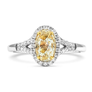 Fancy Yellow Diamond Ring, 1.01 Ct. (1.19 Ct. TW), Oval shape