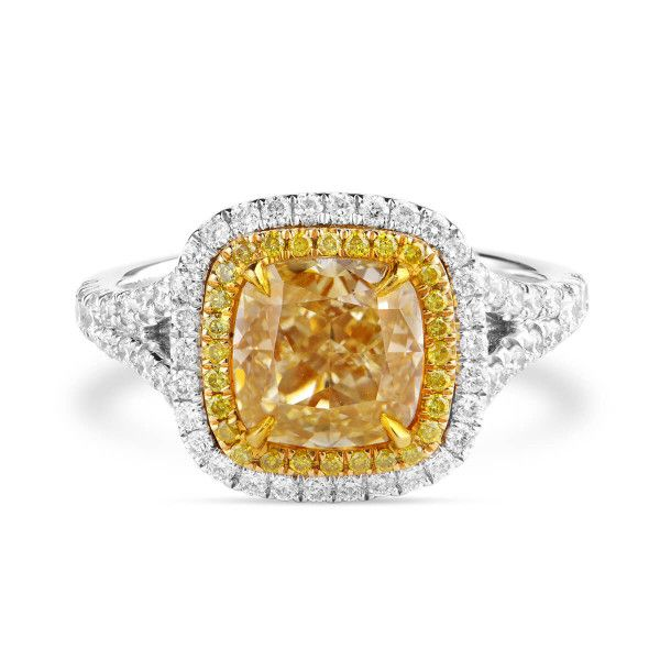 Very Light Yellow (O-P) Diamond Ring, 2.23 Ct. (2.82 Ct. TW), Cushion shape, EG_Lab Certified, J5826182032