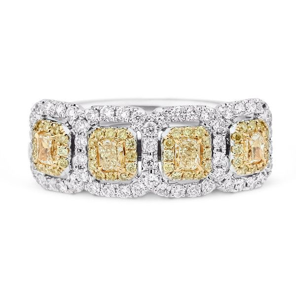 Fancy Intense Yellow Diamond Ring, 1.56 Ct. TW, Radiant shape