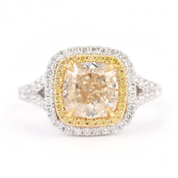 Fancy Yellow Diamond Ring, 0.54 Ct. (1.00 Ct. TW), Radiant shape, CGTC Certified, 10170723990