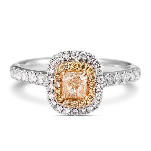 Fancy Yellow Diamond Ring, 0.34 Ct. (0.74 Ct. TW), Cushion shape