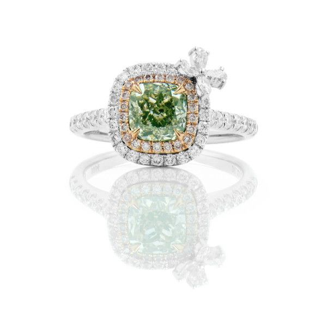Light Green Yellow Diamond Ring, 1.21 Ct. (1.82 Ct. TW), Cushion shape, GIA Certified, 1225676559