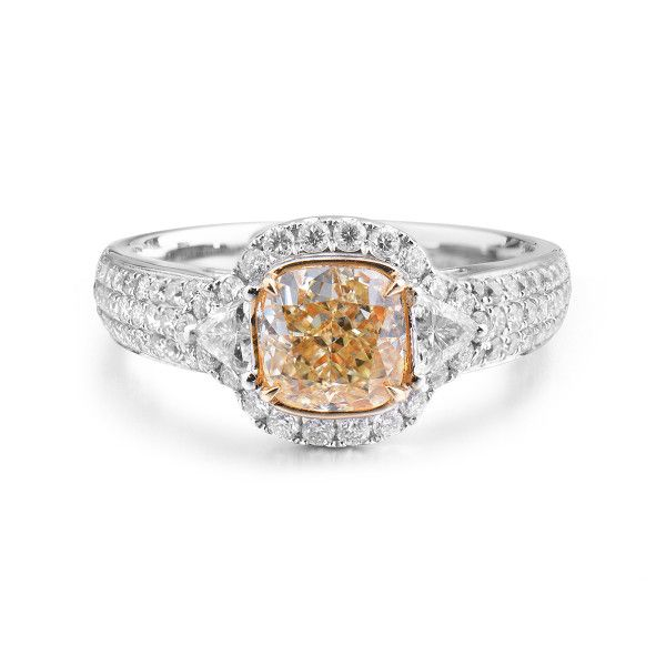 Fancy Light Yellow Diamond Ring, 1.25 Ct. (2.03 Ct. TW), Cushion shape, GIA Certified, 1235454090