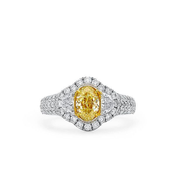 Fancy Yellow Diamond Ring, 1.01 Ct. (1.98 Ct. TW), Oval shape, GIA Certified, 2218878777
