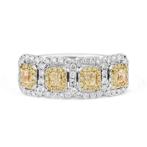 Fancy Intense Yellow Diamond Ring, 1.23 Ct. TW, Radiant shape
