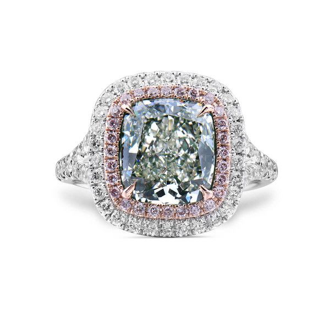 Very Light Yellow Green Diamond Ring, 3.03 Ct. (3.85 Ct. TW), Cushion shape, GIA Certified, 6232411455