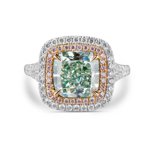 Fancy Light Yellowish Green Diamond Ring, 4.38 Ct. TW, Cushion shape, GIA Certified, 2115713505