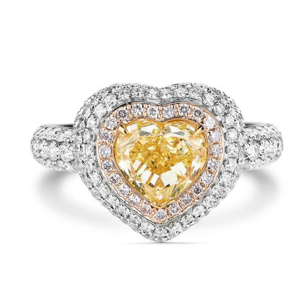 Fancy Yellow Diamond Ring, 1.53 Ct. (2.53 Ct. TW), Heart shape, GIA Certified, 5161261393
