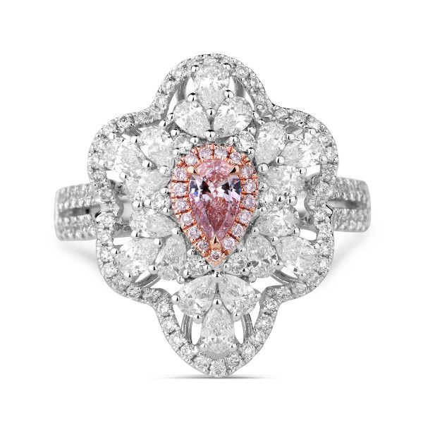 Light Pink Diamond Ring, 0.16 Ct. TW, Pear shape, GIA Certified, 5181017403