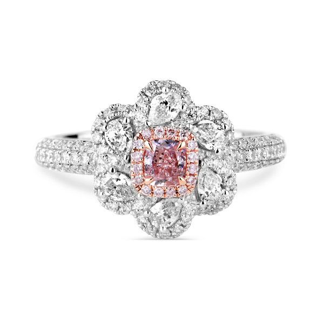 Very Light Pink Diamond Ring, 0.21 Ct. (0.97 Ct. TW), Cushion shape, GIA Certified, 5181029392