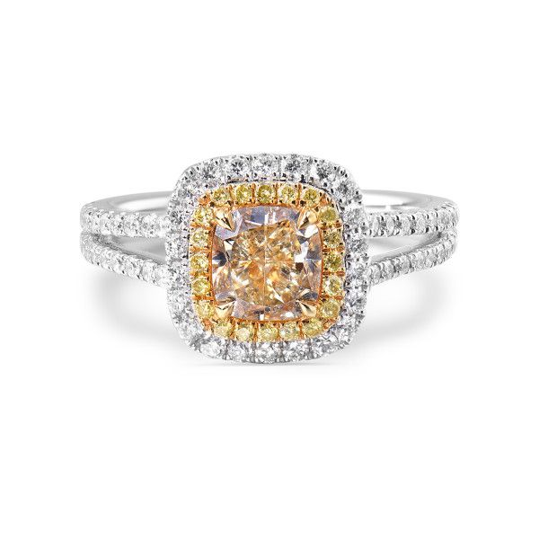 Fancy Light Yellow Diamond Ring, 1.05 Ct. (1.56 Ct. TW), Cushion shape, CGTC Certified, 10170723983