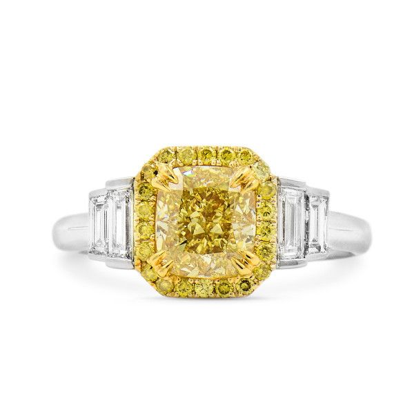 Fancy Intense Yellow Diamond Ring, 0.47 Carat, Cushion shape, GIA Certified, 7201232275