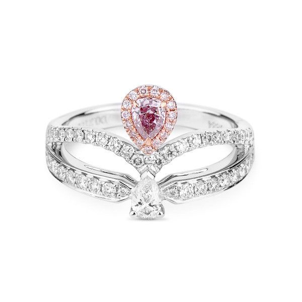 Fancy Brownish Pink Diamond Ring, 0.21 Ct. (0.78 Ct. TW), Pear shape, GIA Certified, 5182226880
