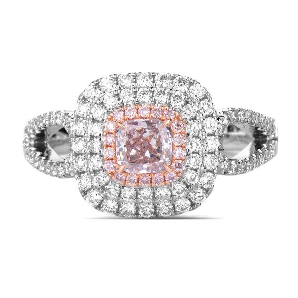 Fancy Brownish Pink Diamond Ring, 0.28 Ct. (0.85 Ct. TW), Cushion shape, GIA Certified, 6183417531