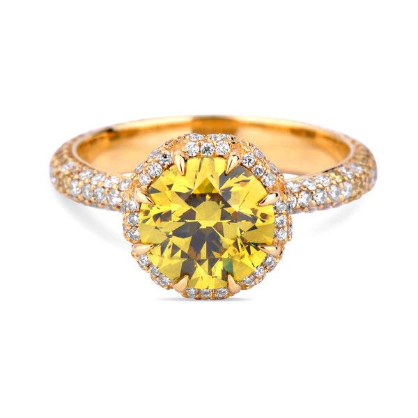 Fancy Deep Brownish Greenish Yellow Diamond Ring, 1.13 Carat, Round shape, GIA Certified, 2171905173