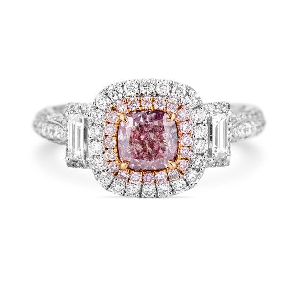 Fancy Brownish Purple Pink Diamond Ring, 0.79 Ct. (1.68 Ct. TW), Cushion shape, GIA Certified, 6165768134