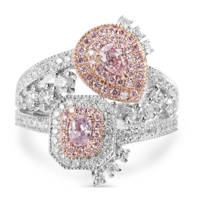 Fancy Purplish Pink Diamond Ring, 0.35 Ct. (1.43 Ct. TW), Cushion shape, GIA Certified, JCRF05329130