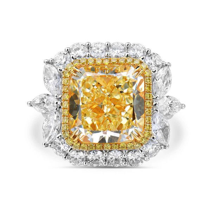 Fancy Yellow Diamond Ring, 10.81 Ct. TW, Radiant shape, GIA Certified, 6183092895