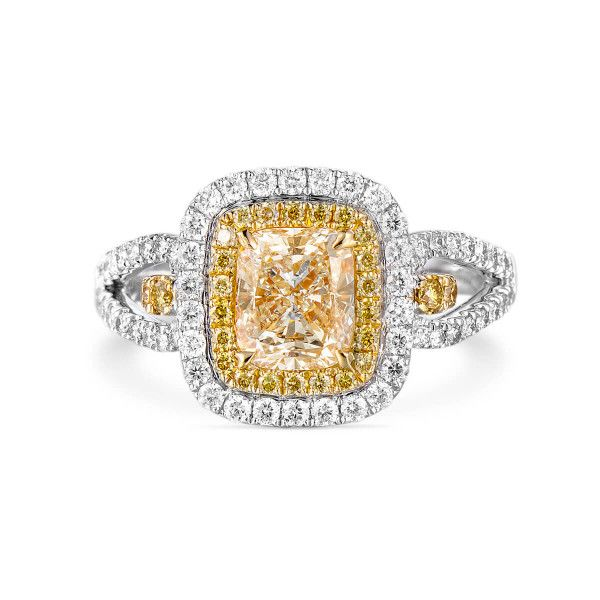 Fancy Yellow Diamond Ring, 1.03 Ct. (1.59 Ct. TW), Cushion shape, EG_Lab Certified, J5926074740