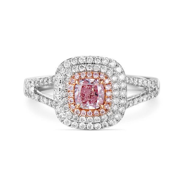 Fancy Light Purplish Pink Diamond Ring, 0.47 Ct. (0.95 Ct. TW), Cushion shape, GIA Certified, 6242264197
