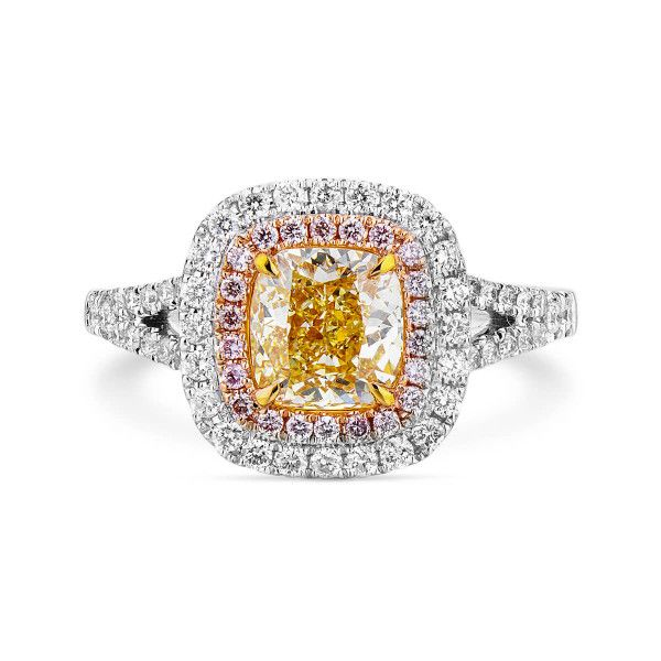 Fancy Yellow Diamond Ring, 1.37 Ct. (1.84 Ct. TW), Cushion shape, GIA Certified, 6202753557