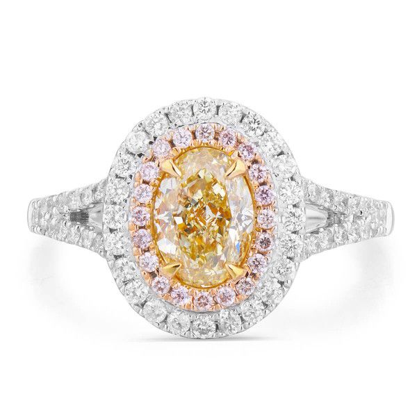 Fancy Light Yellow Diamond Ring, 1.45 Ct. TW, Oval shape, GIA Certified, 2175185506