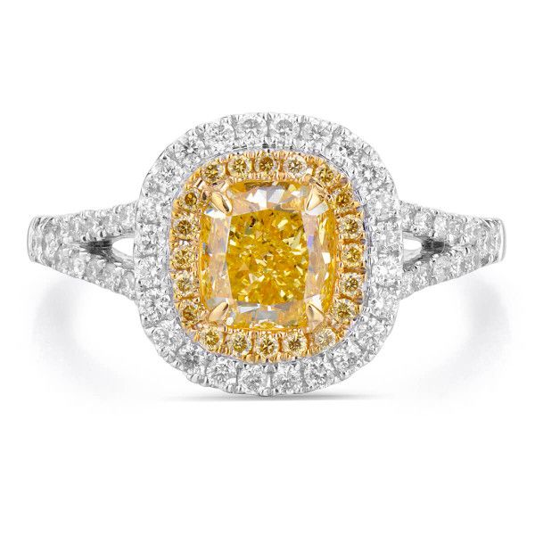Fancy Intense Yellow Diamond Ring, 1.30 Ct. (1.74 Ct. TW), Cushion shape, GIA Certified, 2171231483