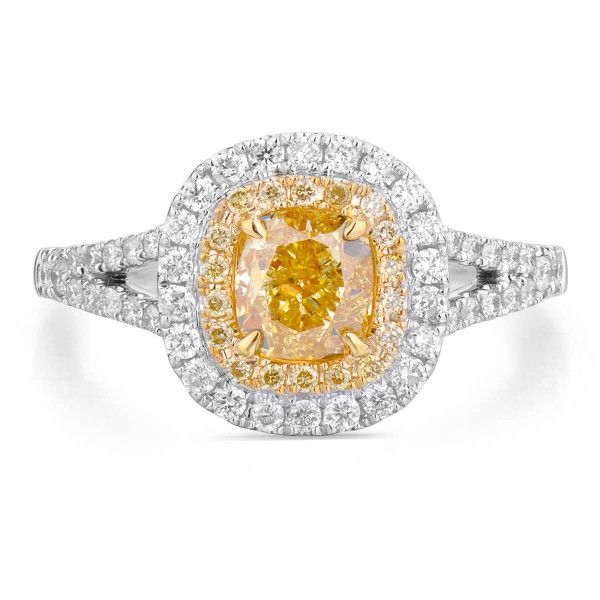 Fancy Intense Yellow Diamond Ring, 1.01 Ct. (1.43 Ct. TW), Cushion shape, GIA Certified, 5171222546