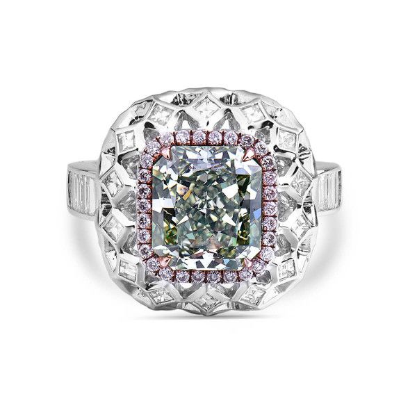 Fancy Green Yellow Diamond Ring, 3.42 Ct. (4.76 Ct. TW), Radiant shape, GIA Certified, 5181227193