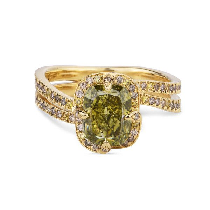Fancy Deep Brownish Greenish Yellow Diamond Ring, 1.87 Ct. TW, Cushion shape, EG_Lab Certified, J5826173941