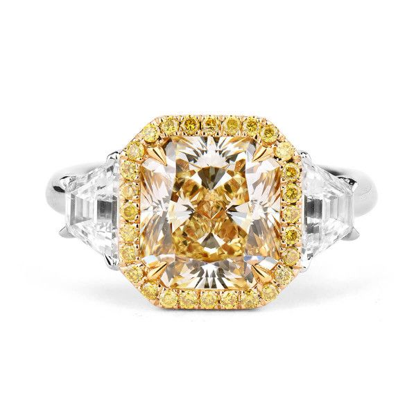 Fancy Yellow Diamond Ring, 3.33 Ct. (4.39 Ct. TW), Radiant shape, GIA Certified, 1182682311