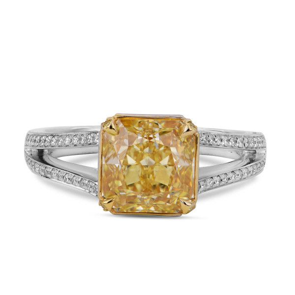 Fancy Yellow Diamond Ring, 2.70 Ct. (3.11 Ct. TW), Radiant shape, GIA Certified, 2185871970