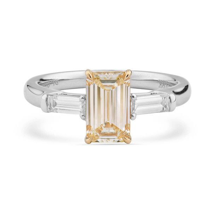 Light Yellow Diamond Ring, 1.40 Ct. TW, Emerald shape, GIA Certified, 5191019999