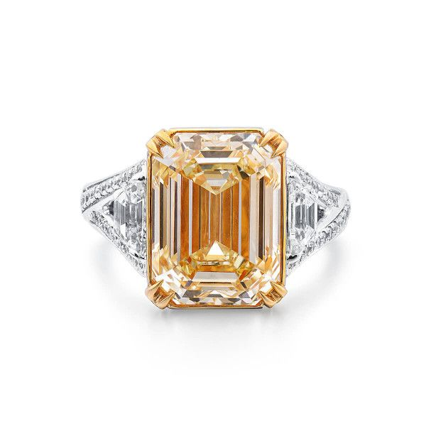 Fancy Light Yellow Diamond Ring, 7.11 Ct. (8.22 Ct. TW), Emerald shape, GIA Certified, 7208133425