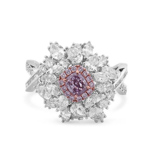 Fancy Pink Purple Diamond Ring, 0.36 Ct. (2.44 Ct. TW), Cushion shape, GIA Certified, 2181844478