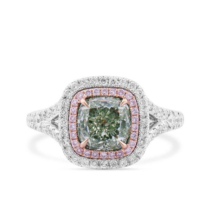 Fancy Grayish Greenish Yellow Diamond Ring, 1.98 Ct. TW, Cushion shape, GIA Certified, 5182640967