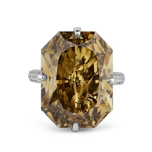 Fancy Dark Brown Yellow Diamond Ring, 26.68 Ct. TW, Radiant shape, GIA Certified, 1152441674
