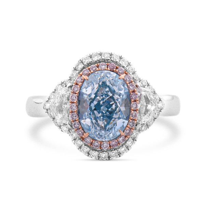 Fancy Greenish Blue Diamond Ring, 2.83 Ct. TW, Oval shape, GIA Certified, 6175841029
