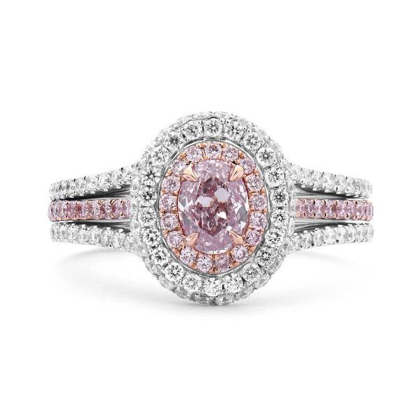 Light Pink Diamond Ring, 1.19 Ct. TW, Oval shape, GIA Certified, 6183641420