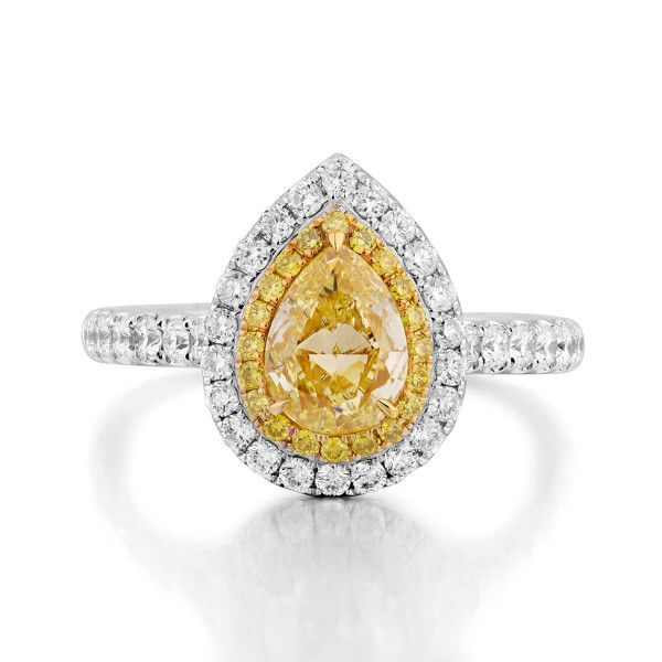 Fancy Yellow Diamond Ring, 1.63 Ct. TW, Pear shape, GIA Certified, 6231634762
