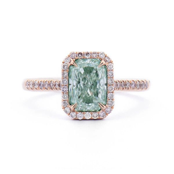 Faint green Diamond Ring 1.98ct.tw, Radiant Shape, GIA certified 6271313281