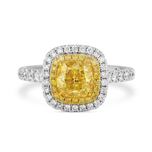 Fancy Light Yellow Diamond Ring, 1.87 Ct. TW, Cushion shape, GIA Certified, 2216179694