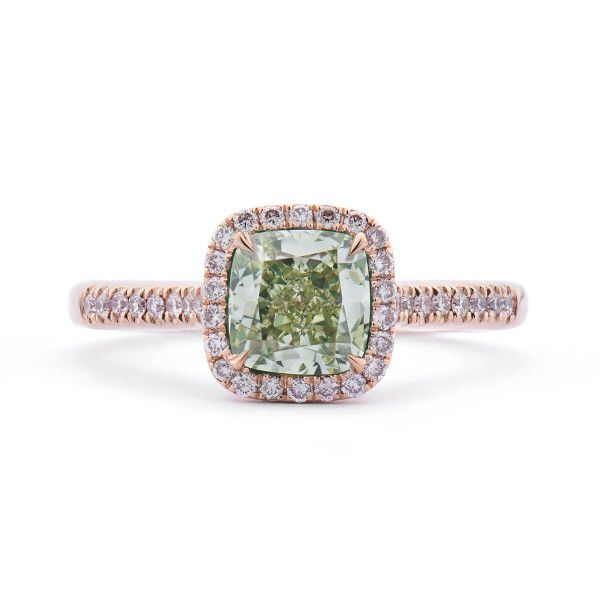 Fancy Greenish Yellow Diamond Ring, 1.67 Ct. TW, Cushion shape, GIA Certified, 2166900145