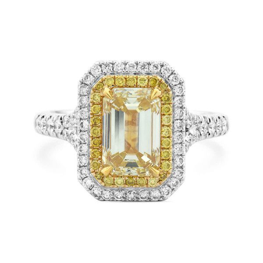 Fancy Yellow Diamond Ring, 2.56 Ct. TW, Emerald shape, GIA Certified, 2183052143
