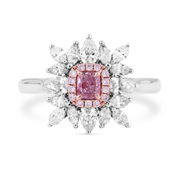 Fancy Intense Pink Diamond Ring, 0.24 Ct. (1.14 Ct. TW), Radiant shape, GIA Certified, 2183340828