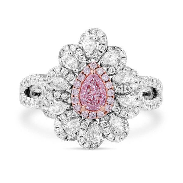 Very Light Pink Diamond Ring, 0.26 Ct. (1.16 Ct. TW), Pear shape, GIA Certified, 5192255964