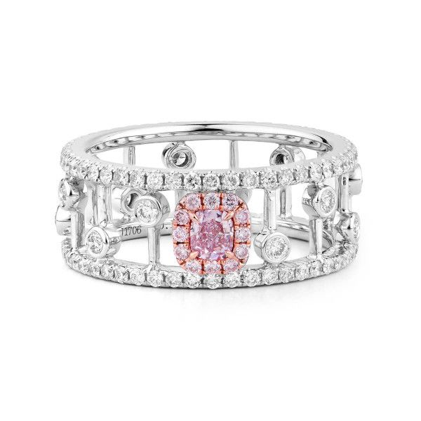 Light Pink Diamond Ring, 0.17 Ct. (1.08 Ct. TW), Cushion shape, GIA Certified, 5191256338